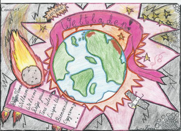 """Das Titelbild des Comics """"Weltladen"""" der Schülerin Alina Korsika der Pestalozzi-Realschule in Freiburg. Sie gewann einen Landespreis."""